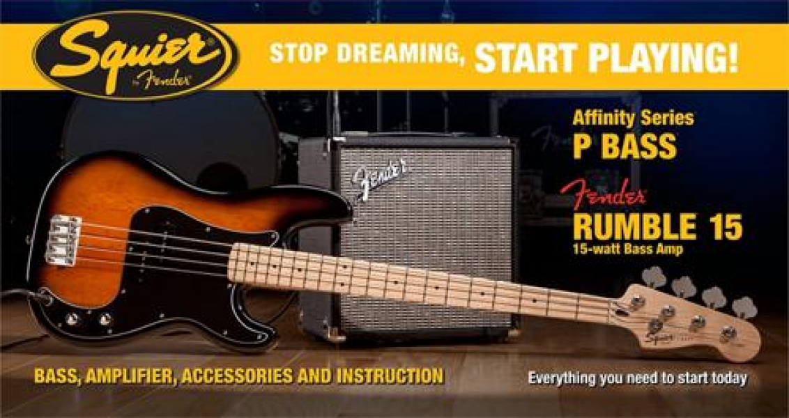 Pack Fender Squier Affinity Series Precision Bass amb Fender Rumble 15 Amp